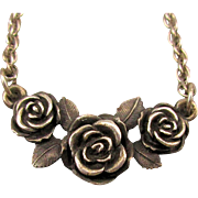Vintage James Avery Sterling Silver Necklace Roses