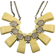 Vintage Chunky Lucite Necklace w/ Rhinestones 1970s