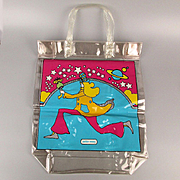 1960s PETER MAX Psychedelic Vinyl Tote Bag Running Man Pop Art