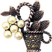 Mini Garden Basket of Delights Pin - Sterling Silver Marcasite Pearls