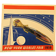 1939 New York World's Fair Bookmark on Original Card