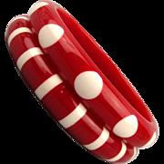 Pair Mod Red Lucite Bangle Bracelets White Stripes n Dots