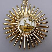 Vintage 2-Sided Flamingo / Palm Tree Pendant Necklace. W. Germany