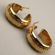 Estate (Unworn) 14K Yellow Gold Etched Hoop Earrings