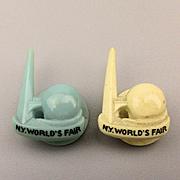 Pair 1939 New York World's Fair Lapel Pins Studs Trylon Perisphere