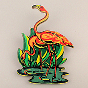 Vintage Carved Wood Pink Flamingos Pin w/ 1950s Florida Friend