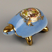 Miniature Limoges Franch Porcelain Turtle Box w/ Romance Scene