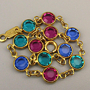 Vintage Swarovski Mini Colored Crystal Link Bracelet