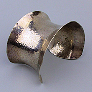 Bold Sterling Silver Hand Hammered Cuff Bracelet REALLY Big