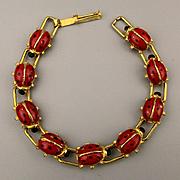 Vintage Enamel LADY BUG Link Bracelet