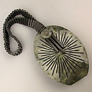 Unusual Art Deco Gray Lucite Oval Handbag w/ Slat Bead Handle