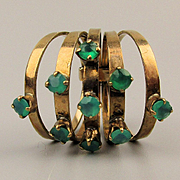 14K Gold Vintage 5 Band Harem Ring w/ Emerald Green Gems