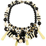 Lucite 1960s Black - White Op Art Necklace Mad Mix