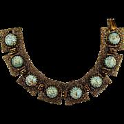 Old Czech Link Bracelet - Glass Turquoise Stones - Filigree Brass