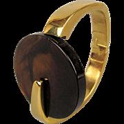 Modernist Kunio Matsumoto Trifari Bracelet Clamper Lucite Tortoise Shell