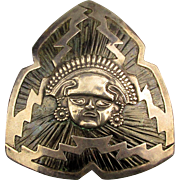 Old Large Mexican Pin Pendant Sterling Silver Mask Face Futuristic Design
