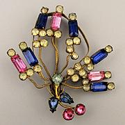 Big Art Deco 1930s Wired Rhinestone Pin Brooch