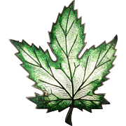 Victorian Heavy Sterling Silver Enamel LEAF Pin Brooch