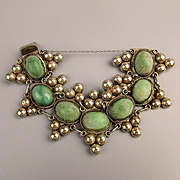 Early Mexican Sterling Silver Bracelet w/ Big Green Stones - Wide