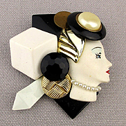 Handmade 1980s Fashionista Profile Lady Pin Brooch