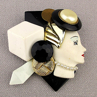 Handmade 1980s Fashionista Profile Lady Pin Brooch
