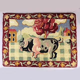 Vintage Folk Art PIG Hand Hooked Rug 26 x 19 Inches