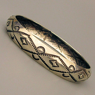 Navajo Hand Stamped Sterling Silver Bangle Bracelet Signed W. Tracy