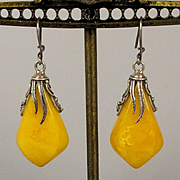 Vintage Baltic Egg Yolk Amber Sterling Silver Drop Earrings