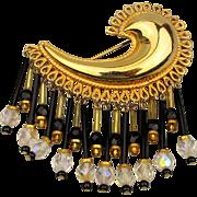 Big Robert Rose ~ Comet ~ Pin w/ Crystal Dangles