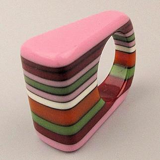Vintage Multi Color Laminated Resin Ring 1980s Designer