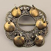 Vintage Norwegian SOLJE 925 Silver Pin w/ Gilded Dangles