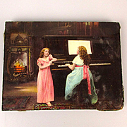 Old Victorian Glass Photographic Plate Girls at the Piano