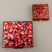 Vintage Lucite Red Confetti Set Compact - Pillbox