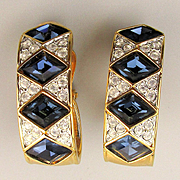 Gorgeous Swarovski Clip Earrings Faux Diamonds - Sapphires