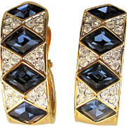 Gorgeous Swarovski Clip Earrings Faux Diamonds - Sapphires