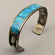 Old Native American Cuff Bracelet Sterling Turquoise Inlay