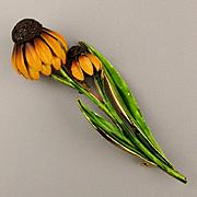 Tall Enamel Sunflower Pin w/ Droopy Petals