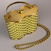 Unique Vintage Designer Handbag Gold Mesh Weave