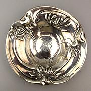 Antique Art Nouveau Sterling Silver Dish Bowl Repousse Flowers