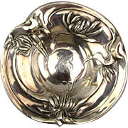 Antique Art Nouveau Sterling Silver Dish Bowl Repousse Flowers