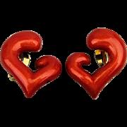 Vintage Nina Ricci Red Enamel Clip Earrings