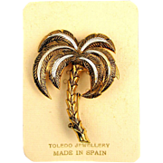 Vintage Damascene Etched Palm Tree Pin on Orig. Card. Spain
