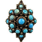 Old Gorgeous Persian Turquoise Sterling Silver Ring 17 Stones