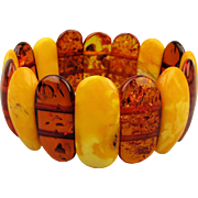 Vintage Egg Yolk Butterscotch Baltic Amber Stretch Bracelet