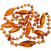 Vintage 42-Inch Baltic Amber Bead Necklace Butterscotch - Egg Yolk - Bug