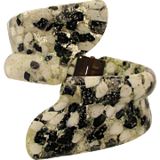 Wide Wide Lucite Confetti Shell Clamper Bracelet