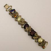 Vintage c1940s Link Bracelet w/ Big Rhinestones - Faux Pearls