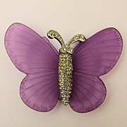Big KJL Lavender Lucite Wing Butterfly Pin w/ Crystal Rhinestone Body