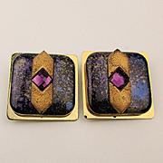 Modernist KIEN Large Enamel Jeweled Clip Earrings