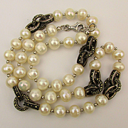 Estate Necklace - Real Pearls Sterling Silver Marcasite Rings